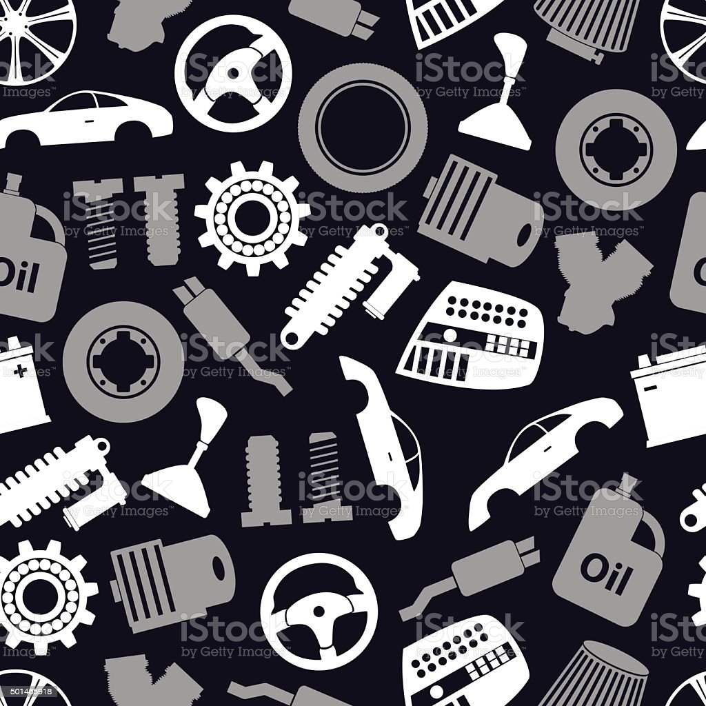 Car Parts Store Simple Icons Seamless Dark Pattern Eps10 Stock ...