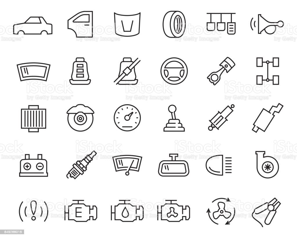 Car parts vector icon set in thin line style vector art illustration