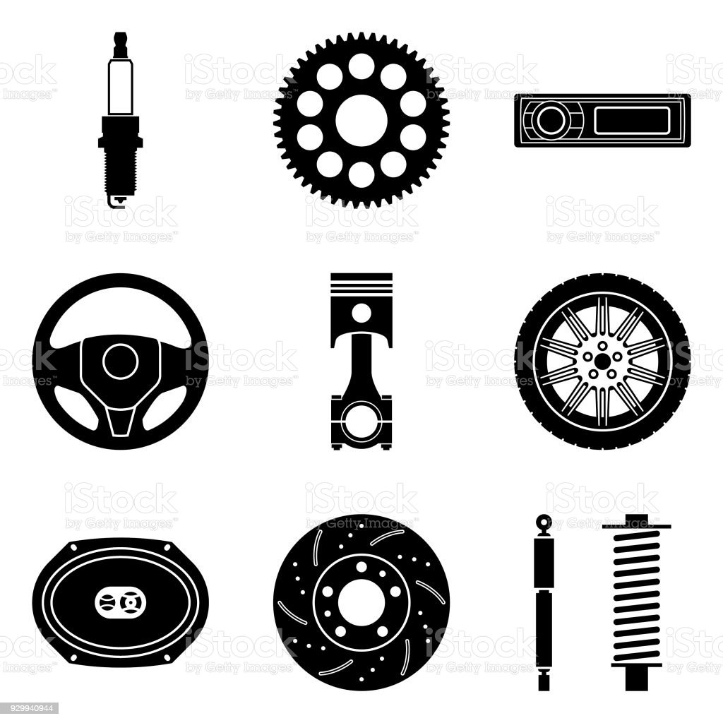 Car Parts Vector Icon Set Stock Illustration Download Image Now