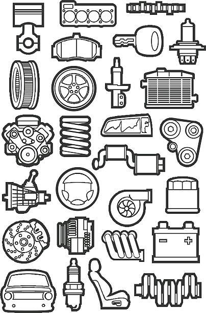 car parts vector art illustration