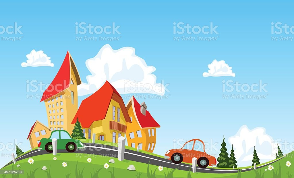 Car passing by in abstract city royalty-free stock vector art