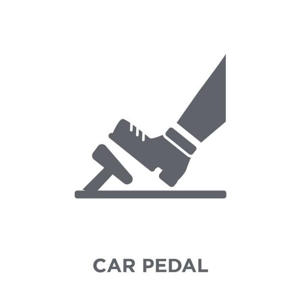 ilustraciones, imágenes clip art, dibujos animados e iconos de stock de icono de pedal de coche de colección de piezas de coches. - pedal