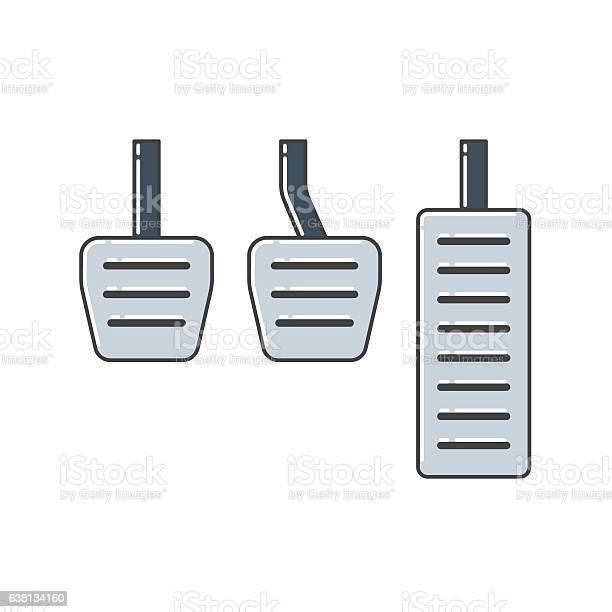 Illustration of car pedals. Car parts.