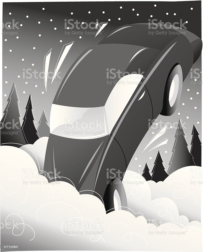 Car Plunged Snow royalty-free stock vector art