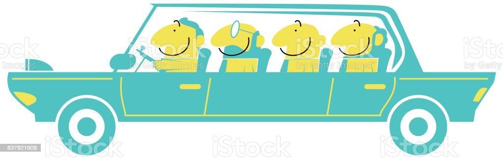Auto pooling, Austausch von Wirtschaft, vier lächelnd Geschäftsmann (Mann) in ein Auto) – Vektorgrafik