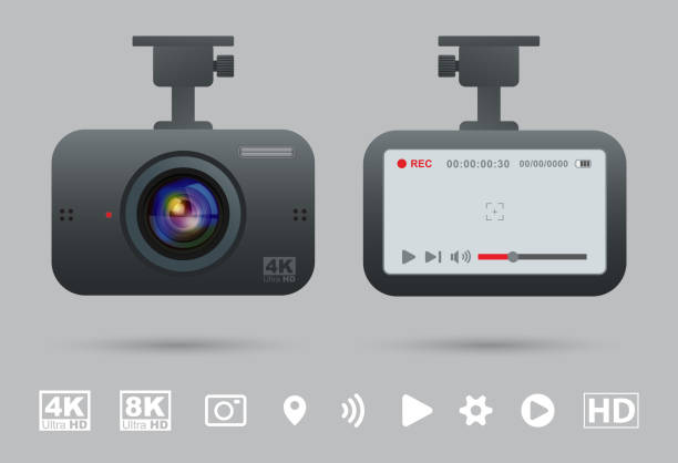 Car Portable Mobile Video Camera vector art illustration