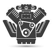 Car powerful engine, black symbol