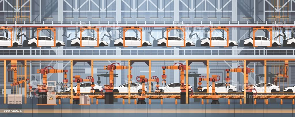 Car Production Conveyor Automatic Assembly Line Machinery Industrial Automation Industry Concept vector art illustration