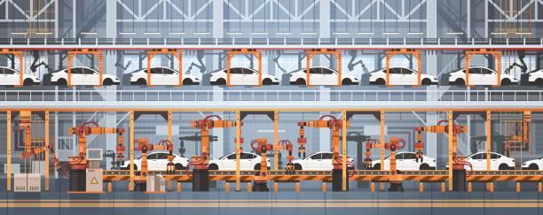 illustrations, cliparts, dessins animés et icônes de concept car production convoyeur automatique ligne d'assemblage machines automatisation industrielle industrie - infographie industrie manufacture production