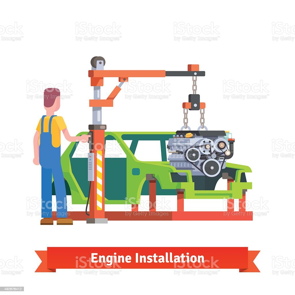 Car production line or repair shop vector art illustration