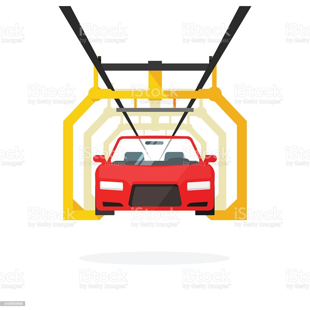 Car production line vector illustration auto maintenance process, automobile manufacturing vector art illustration