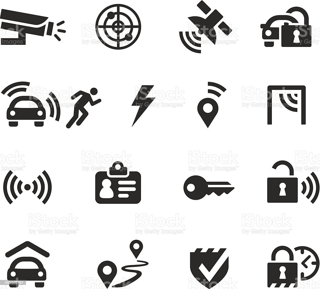 Burglar Alarm Cost >> Car Protection And Security Icons Stock Vector Art & More Images of Alarm 455446167 | iStock