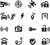 Set of car security and theft prevention icons like gps tracking, route tracking and other commonly used signs. Quality vectors for website, app or print project. Includes transparent PNG and PDF file.