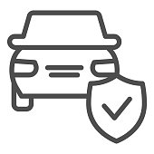 Car protection emblem line icon. Vehicle with shield, safe driving symbol, outline style pictogram on white background. Auto accident sign for mobile concept and web design. Vector graphics