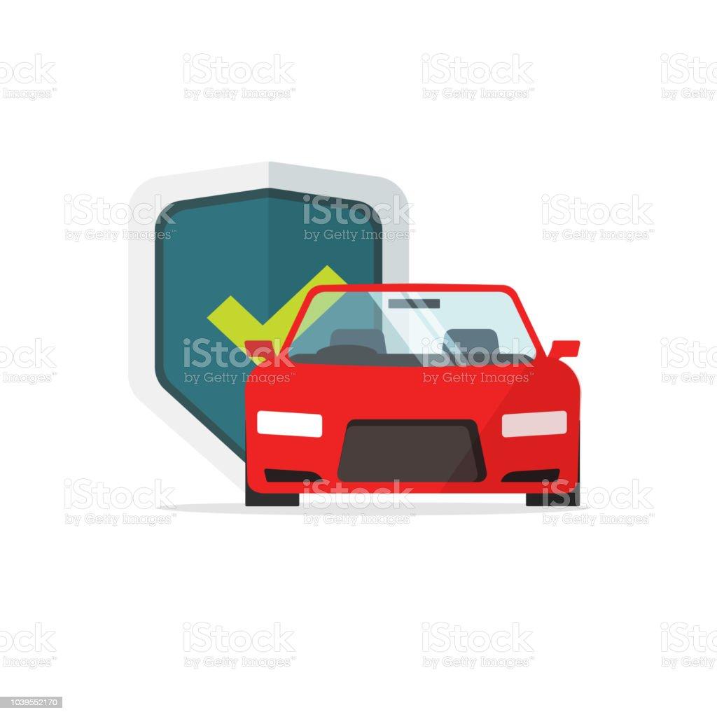 Auto-Schutz-Vektor-Illustration, flache Cartoon Auto mit Schild geschützt und Häkchen, Auto Sicherheitskonzept, Versicherung Symbol Zeichen isoliert zu schützen – Vektorgrafik