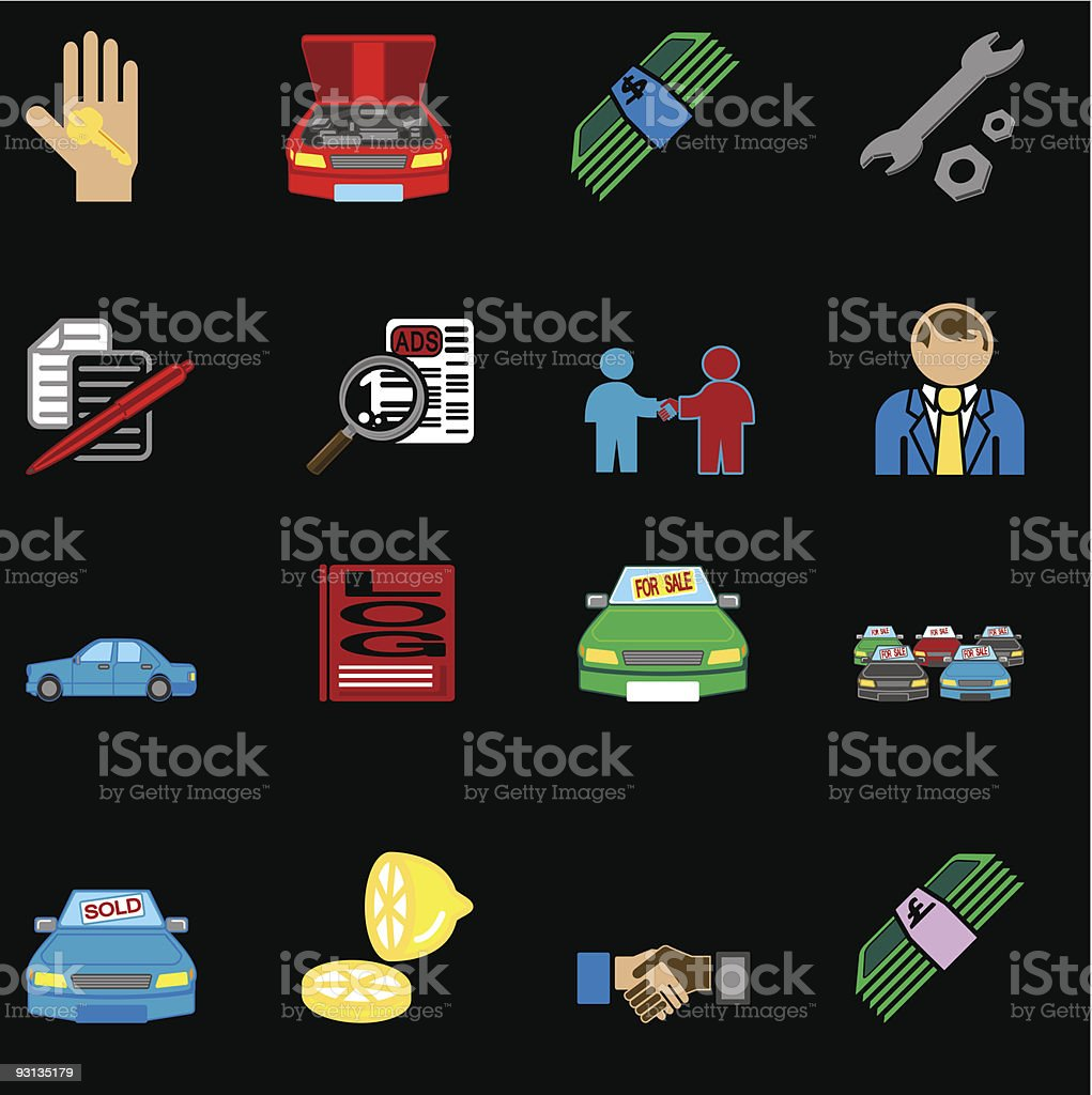 car purchase icons series set royalty-free stock vector art