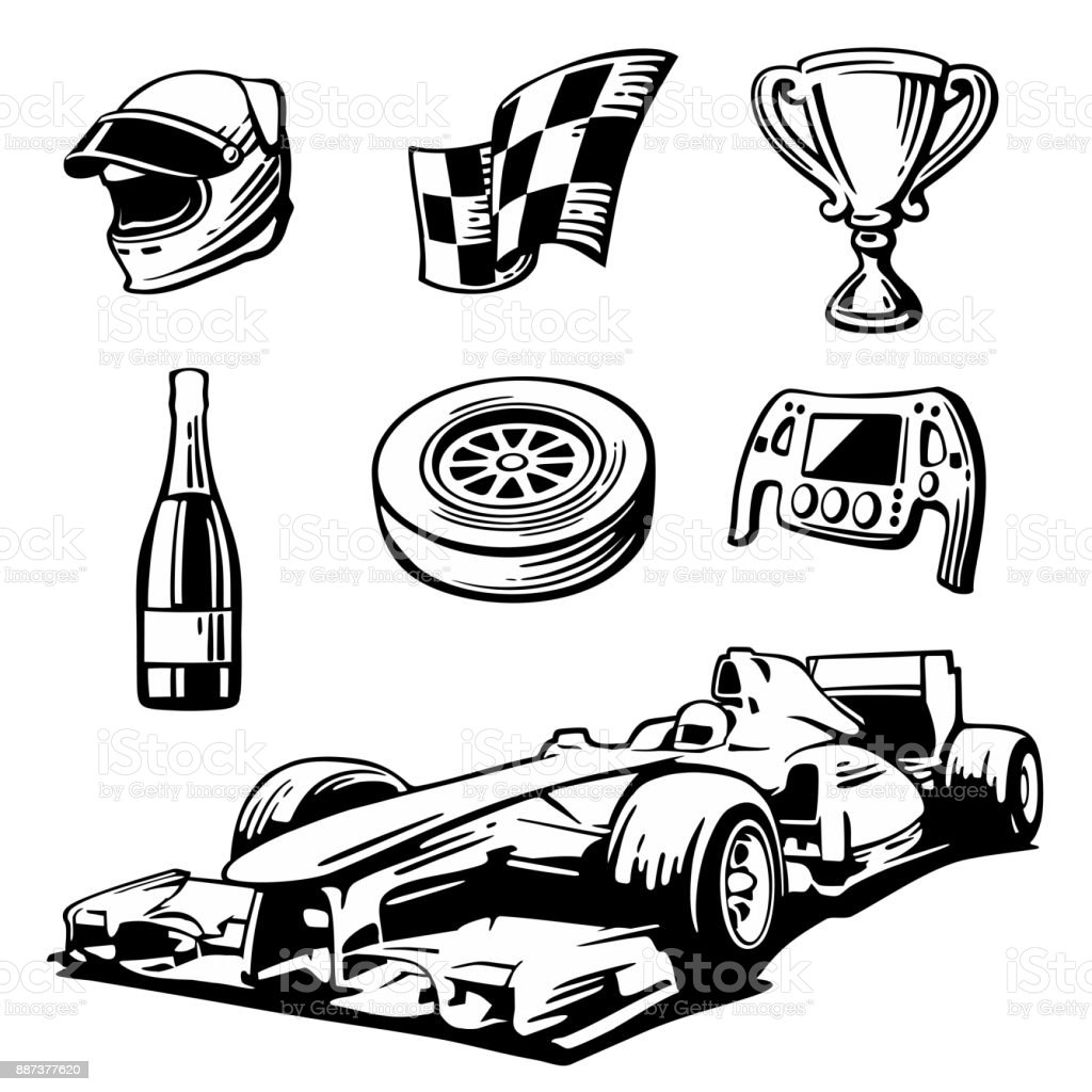 Car Race Icons Set Helmet Wheel Tire Speedometer Cup Flag Vector ... for Racing Tire Vector  75sfw