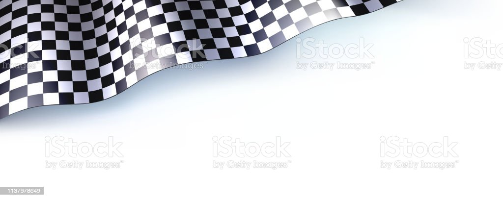 Car race or motorsport rally flag on white. Checkered flag for car or...