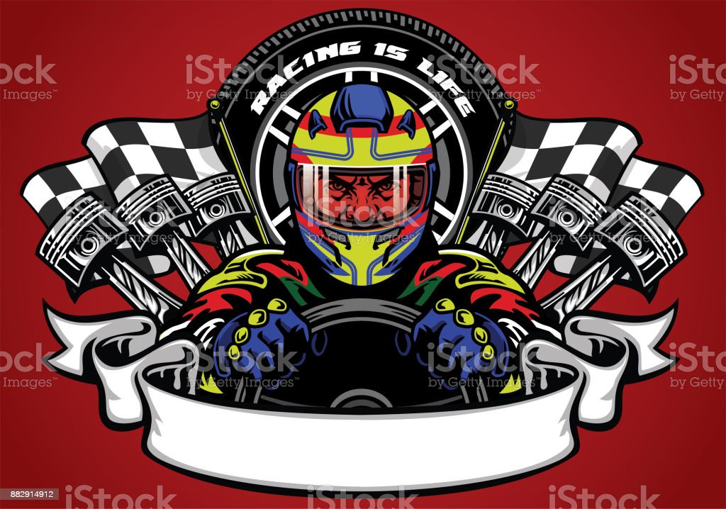 car racer wearing helmet with ribbon for text space vector art illustration