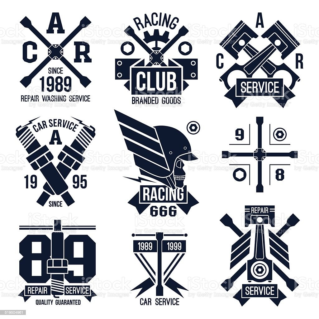 Car races and service badges vector art illustration
