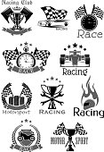 Racing sport club or car speed race sport icons. Motor bike rally symbols set of sportscar firing helmet and wheel tires or checkered start flag. Vector victory ribbons and winner cup for championship