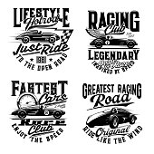 Car races t-shirt print mockup, retro automobile rally and sport club signs. Vintage auto and classic vehicles racing, legendary champion road racing, sportcar and speedometer for t shirt print