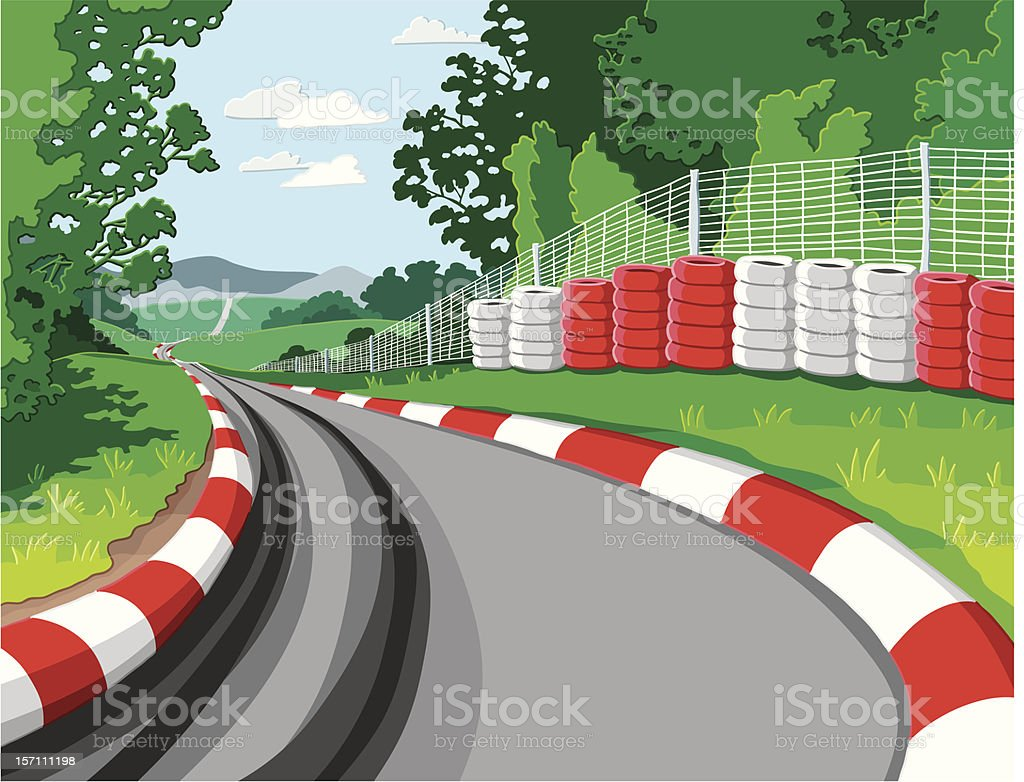 Car Racetrack vector art illustration