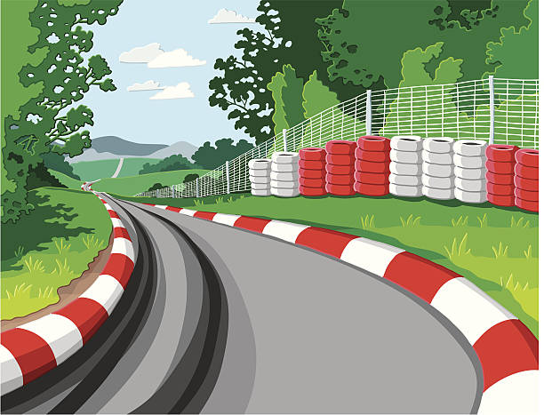 Car Racetrack Vector Illustration of a fictional, hand-drawn racetrack. The strokes are on a separate layer. The colors in the .eps-file are ready for print (CMYK). Included files: EPS (v8) and Hi-Res JPG. motor sport stock illustrations