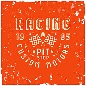 Car racing badge in retro style. Graphic design with rough texture for t-shirt. Color print on red background