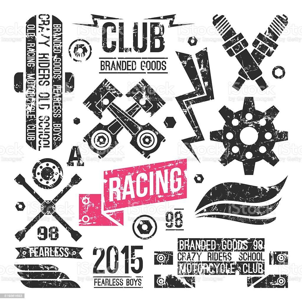 Car racing badges in retro style vector art illustration