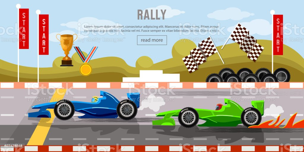 Car racing banner, motor racing cars on a start line vector art illustration