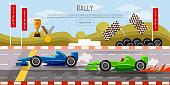 Car racing banner, motor racing cars on a start line