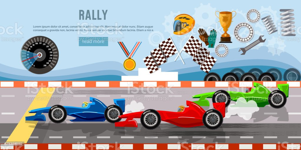 Car racing banner. Tyre drift on race circuit finish line. Motor racing cars on a start line, formula car speeding vector art illustration