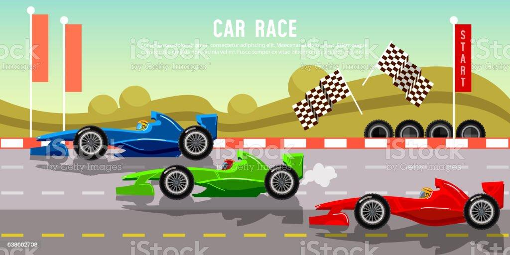 Car racing banner. Tyre drift on race circuit finish line vector art illustration