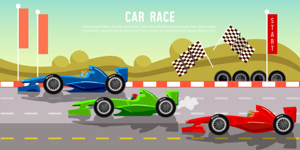 Car racing banner. Tyre drift on race circuit finish line Car racing banner. Tyre drift on race circuit finish line. Motor racing cars on a start line, formula car speeding, racing in cars. auto racing stock illustrations