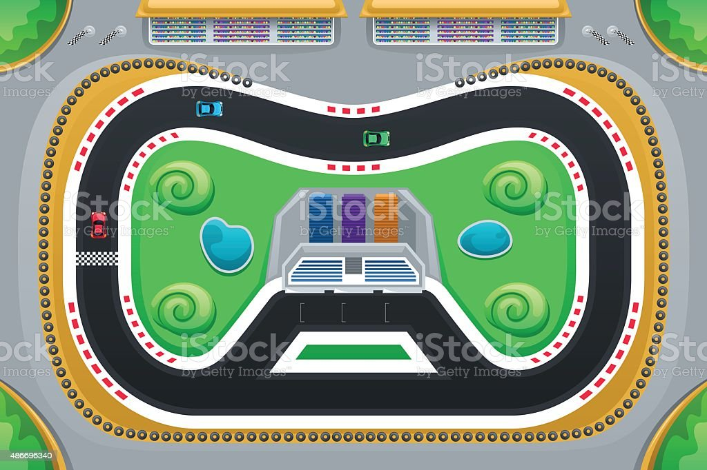 Car Racing Game Viewed from Above vector art illustration