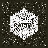 Car racing hexagonal emblem in retro style. Graphic design for t-shirt. White print on a black background