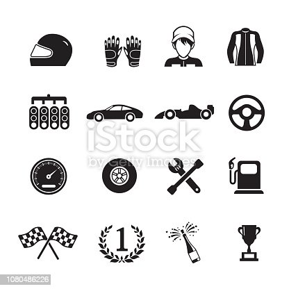 Car racing icons,Set of 16 editable filled, Simple clearly defined shapes in one color.