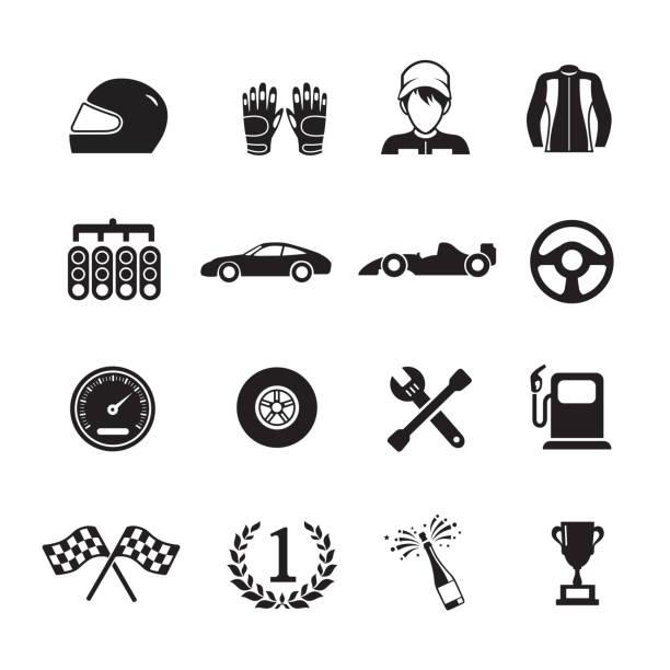 car racing icons - formula 1 stock illustrations