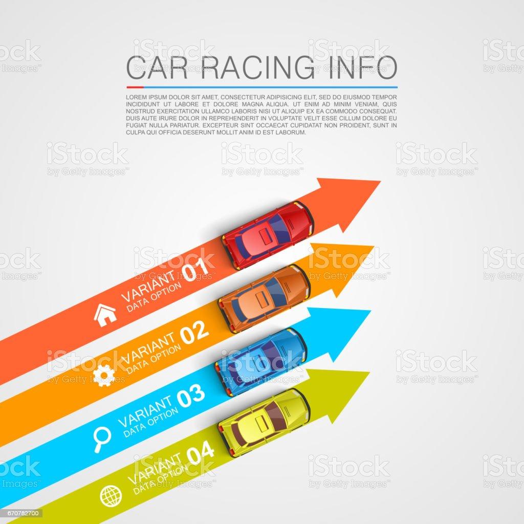 Car racing info art cover vector art illustration