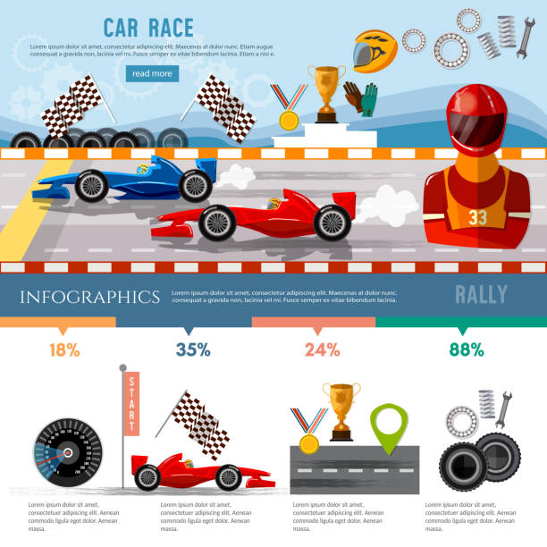 Car racing infographic, auto sport championship symbols and charts, racing formula cars on a start line template vector art illustration
