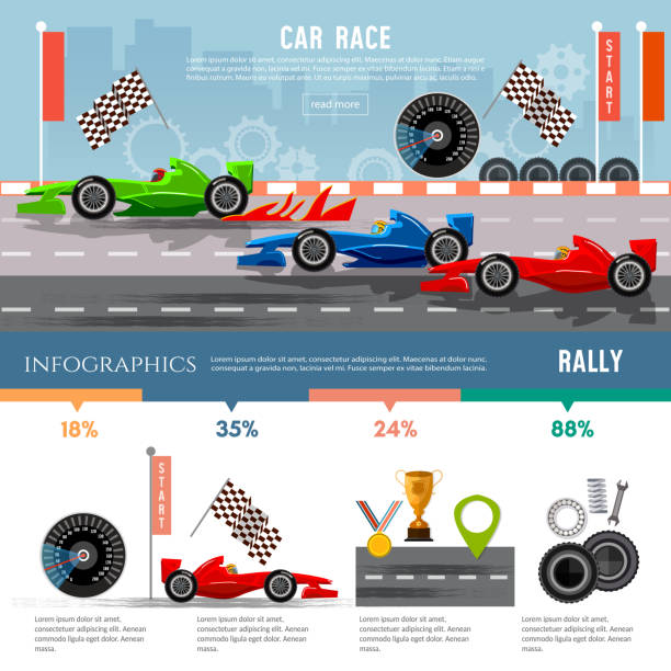 Car racing infographic, auto sport championship symbols vector art illustration