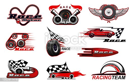 Car motor race and motorsport icons. Vector racing symbols, badges with checkered flag, winged wheel, sport vehicles, speedometer and tyre, turbine and wreath, wings. Racing sport, speed icons