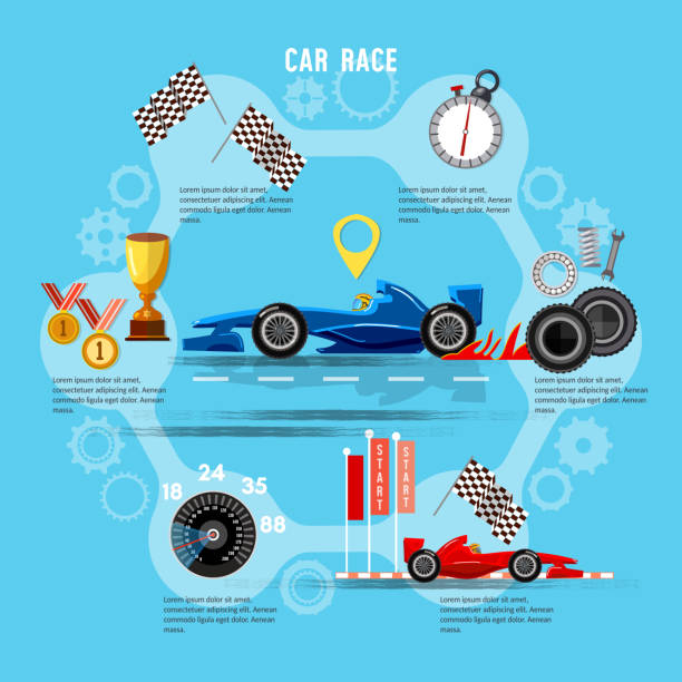 Car racing sport concept. Tyre drift on race circuit finish line. Motor racing cars on a start line, formula car speeding Car racing sport concept. Tyre drift on race circuit finish line. Motor racing cars on a start line, formula car speeding auto racing stock illustrations