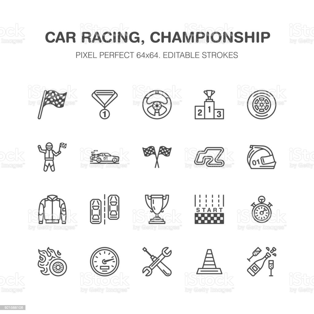 Car racing vector flat line icons. Speed auto championship signs - track, automobile, racer, helmet, checkered flags, steering wheel, start. Pixel perfect 64x64