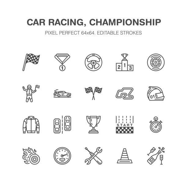 car racing vector flat line icons. speed auto championship signs - track, automobile, racer, helmet, checkered flags, steering wheel, start. pixel perfect 64x64 - race stock illustrations