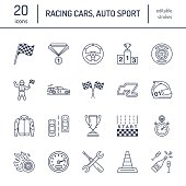 istock Car racing vector line icons. Speed auto championship signs - 638742216