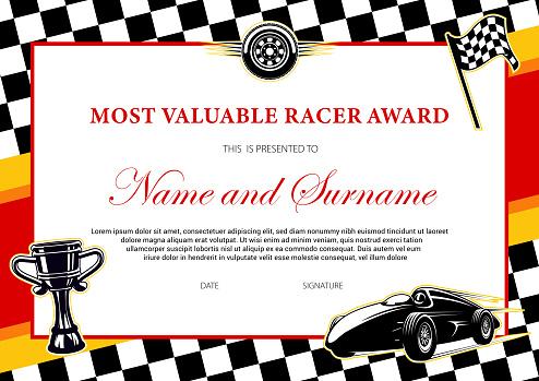 Car racing winner certificate, races diploma award