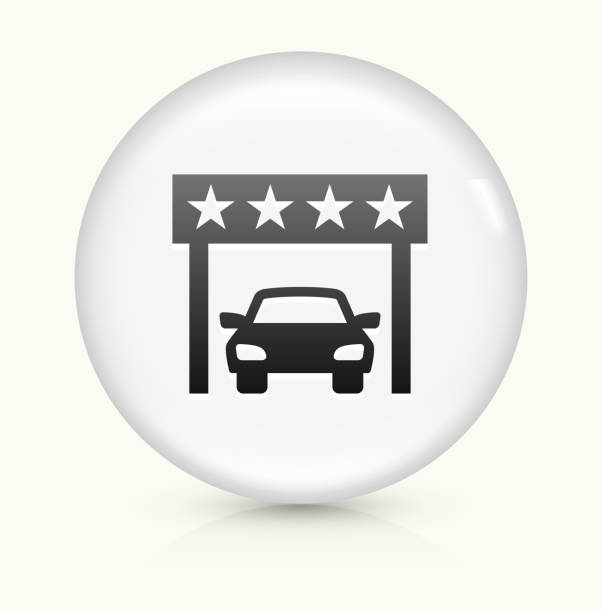 royalty free car dealership icon on white round vector button clip art vector images. Black Bedroom Furniture Sets. Home Design Ideas