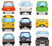 Car rear vector illustration set.